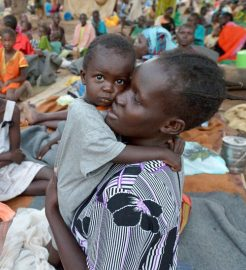 Food and shelter or mother and child in South Sudan